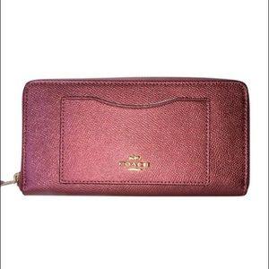 Coach Large Metallic Antique Blush Wallet